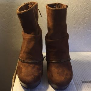 Buckle Shoes - Brown Buckle Wedge Boots with Cute Zipper Design